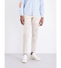 Kenzo Embroidered Tapered Cotton Chinos Beige