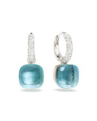 Pomellato Nudo Blue Topaz Diamond Drop Earrings