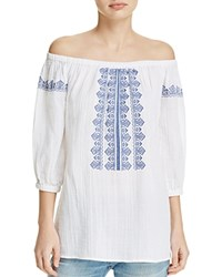 Beachlunchlounge Embroidered Off The Shoulder Gauze Tunic White