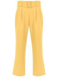 Egrey Belted Cropped Pants Yellow And Orange