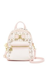 Betsey Johnson Laser Cut Backpack Crossbody Pink