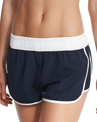 Seafolly Hit Repeat Coverup Shorts Indigo