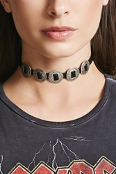 Forever 21 Faux Leather Medallion Choker Black B.Silver