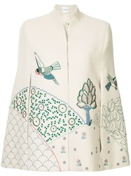 Vilshenko Nature Embroidered Cape Nude And Neutrals