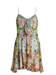 Camilla Miranda's Diary Silk Dress Green Multi