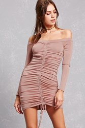 Forever 21 Ruched Satin Bodycon Dress Blush