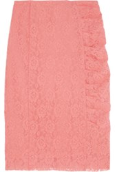 Nina Ricci Stretch Lace Pencil Skirt Coral