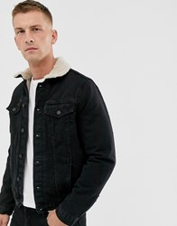 New Look Borg Lined Denim Jacket In Washed Black
