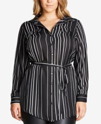 City Chic Trendy Plus Size Striped Tunic Shirt Black