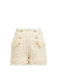 Balmain High Rise Tweed Shorts Beige