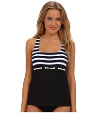 Nautica Broadside Rem S C Tankini Na81145 Black White Women's Swimwear