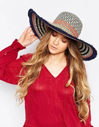 Aldo Floppy Straw Hat With Stripes And Frayed Trim Natural Black Multi
