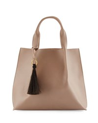 Oliveve Maggie Leather Tote Bag With Horsehair Tassel Gray