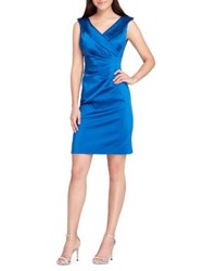 Tahari By Arthur S. Levine Sunburst Satin Collared Sheath Dress Cerulean Blue