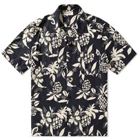 Saint Laurent Short Sleeve Hibiscus Surf Shirt Black