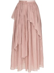 Vika Gazinskaya Asymmetric Pleated Midi Skirt Pink