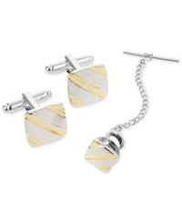 Geoffrey Beene Diagonal Striped Cufflinks And Tie Tac Gift Set Silver