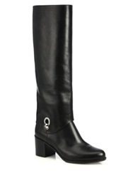 Fendi Fold Over Leather Knee Boots Black