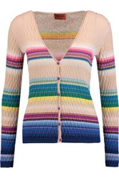 Missoni Textured Crochet Knit Cotton Blend Cardigan Sand