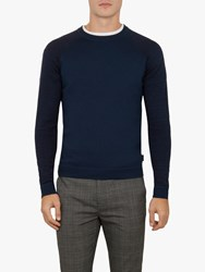 Ted Baker Cornfed Space Dye Crew Neck Top Teal Blue