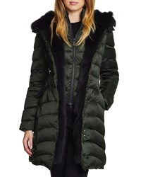 Dawn Levy Jet Setter Fox Fur Trim Fitted Puffer Jacket Olive