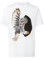Neil Barrett Mechanical Owl Print T Shirt White