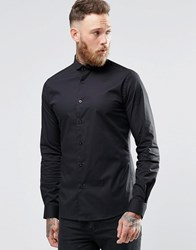 Noose And Monkey Skinny Shirt With Curve Collar With Stretch Black