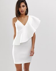 Lavish Alice Exaggerated One Shoulder Frill Scuba Mini Dress In White