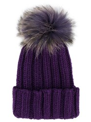 Inverni Racoon Fur Pom Pom Beanie Pink And Purple