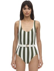 Solid And Striped Ann Marie Belted Lycra Swimsuit Green