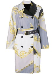 Versace Collection Baroque Print Reversible Trench Coat Grey