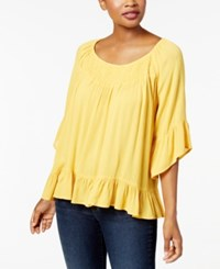 Style And Co Petite Smocked Flutter Top Created For Macy's Honey Glaze