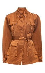 Cynthia Rowley Satin Safari Jacket Bronze