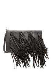 Cynthia Vincent Dagon Leather Fringe Wristlet Black