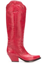 Buttero Elise Western Boots Red