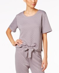 Hue Quilted Knit Pajama T Shirt Silver