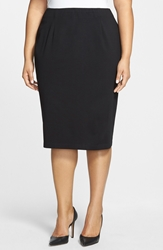 Eileen Fisher Ponte Knit Pencil Skirt Plus Black