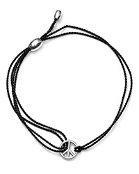 Alex And Ani Kindred Cord Peace Sign Bracelet Charity By Design Collection Black