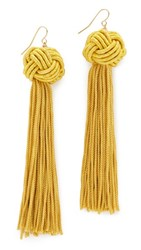 Vanessa Mooney The Astrid Knotted Tassel Earrings Gold