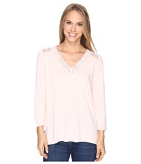 Nydj Lace Trim V Neck Knit Top Macaron Women's Clothing Pink