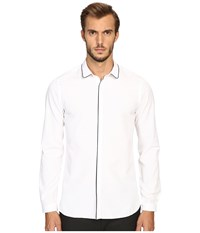 The Kooples Classic Collar Shirt W Navy Piping White Navy Men's Long Sleeve Button Up