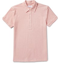 Orlebar Brown Sebastian Striped Cotton Pique Polo Shirt Pink
