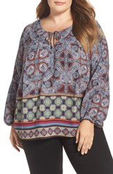 London Times Plus Size Women's Border Print Peasant Top Blue Multi