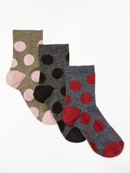 Boden Metallic Sparkle Dot Ankle Socks Pack Of 3 Multi