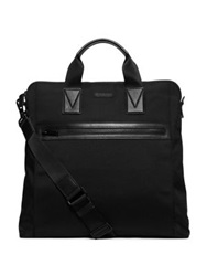Michael Kors North South Leather Trim Nylon Tote Black