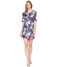 Nally And Millie Elbow Sleeve Navy Poppy Floral Print Dress Multi