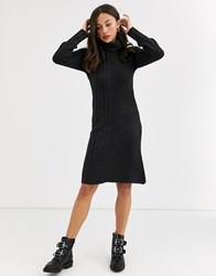 Qed London Cowl Neck Jumper Dress In Charcoal Grey