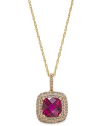 Macy's Lab Created Ruby 2 1 2 Ct. T.W. And White Sapphire 1 3 Ct. T.W. Pendant Necklace In 14K Gold Plated Sterling Silver Yellow Gold