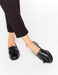 Park Lane Leather Tassle Loafer Black Croc Emboss