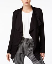 Bar Iii Zipper Detail Waterfall Cardigan Only At Macy's Deep Black